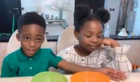 Davido's daughter hangs out with Tiwa Savage's son