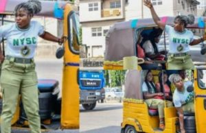 Lady storms the road with Keke napep which she purchased with NYSC allowance (Photos)