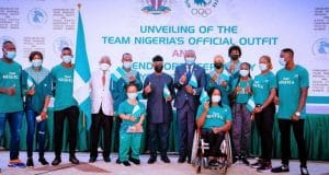 VP Osinbajo unveils team Nigeria?s official outfit to Tokyo Olympics, sends forth athletes (photos) || PEAKVIBEZ