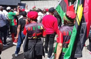 Nnamdi Kanu's trial: Commotion as police officer threatens to shoot IPOB member